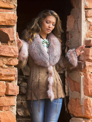 Shearling Crystal Fox Jacket
