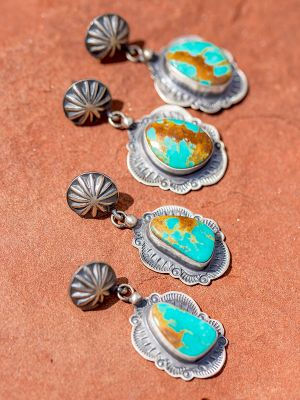 Kingman Turquoise Concho Earrings