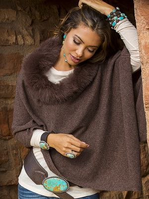 Cashmere and Fox Poncho