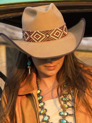 Ultra beaded Hatband Choco